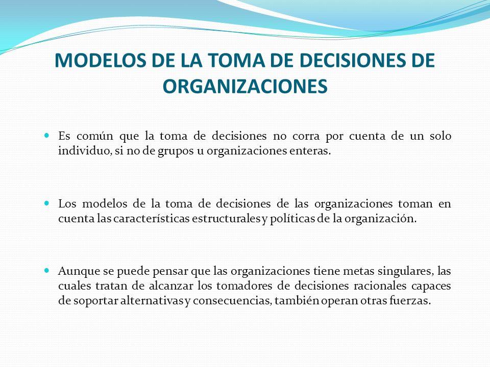 MODELOS DE LA TOMA DE DECISIONES DE ORGANIZACIONES