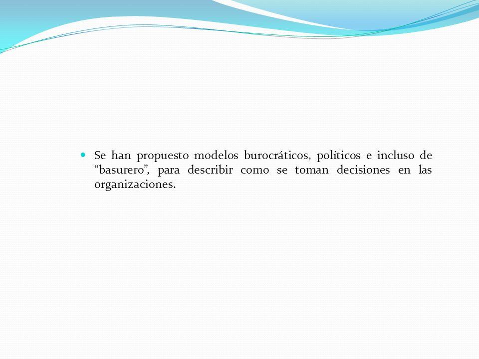 Se han propuesto modelos burocráticos, políticos e incluso de basurero , para describir como se toman decisiones en las organizaciones.