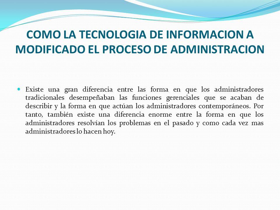 COMO LA TECNOLOGIA DE INFORMACION A MODIFICADO EL PROCESO DE ADMINISTRACION