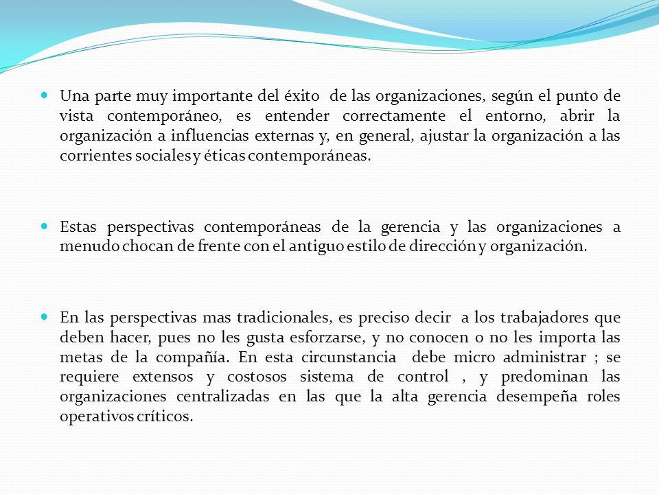 Una parte muy importante del éxito de las organizaciones, según el punto de vista contemporáneo, es entender correctamente el entorno, abrir la organización a influencias externas y, en general, ajustar la organización a las corrientes sociales y éticas contemporáneas.