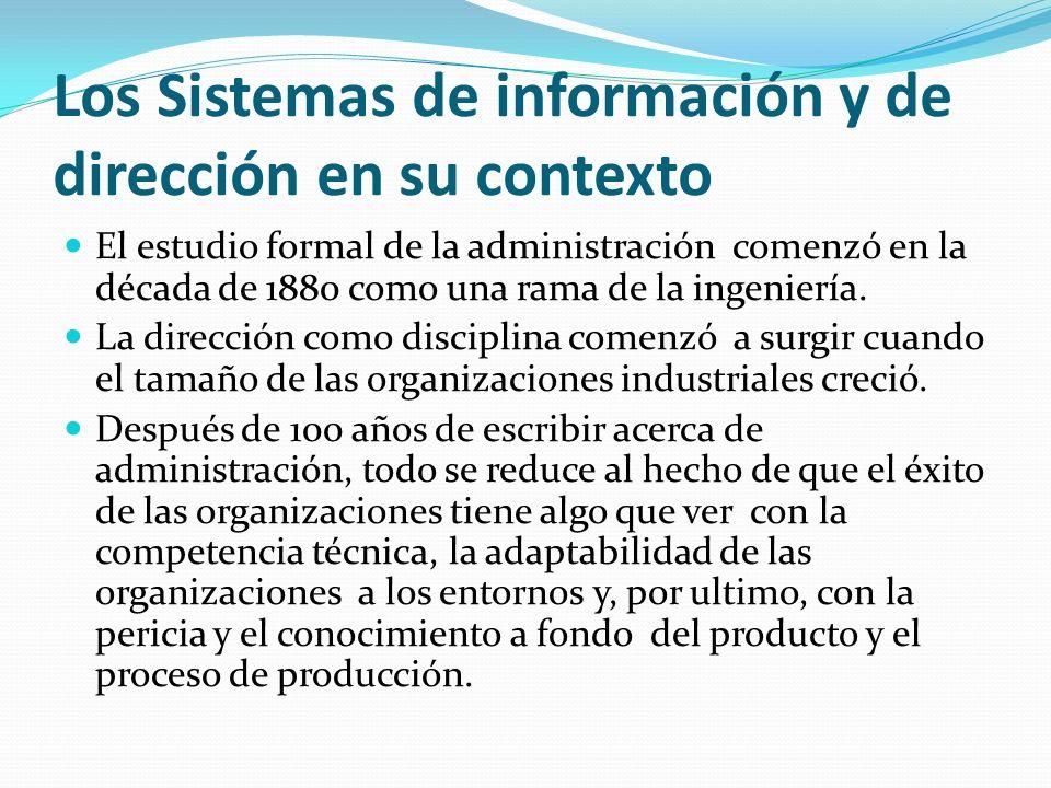Los Sistemas de información y de dirección en su contexto