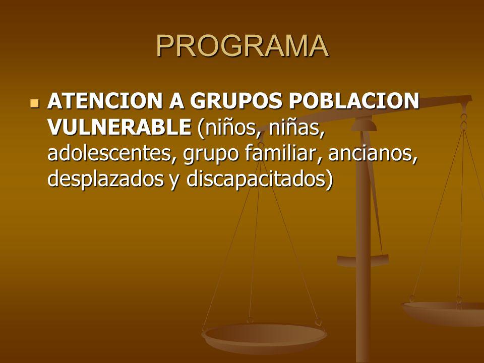 PROGRAMA ATENCION A GRUPOS POBLACION VULNERABLE (niños, niñas, adolescentes, grupo familiar, ancianos, desplazados y discapacitados)