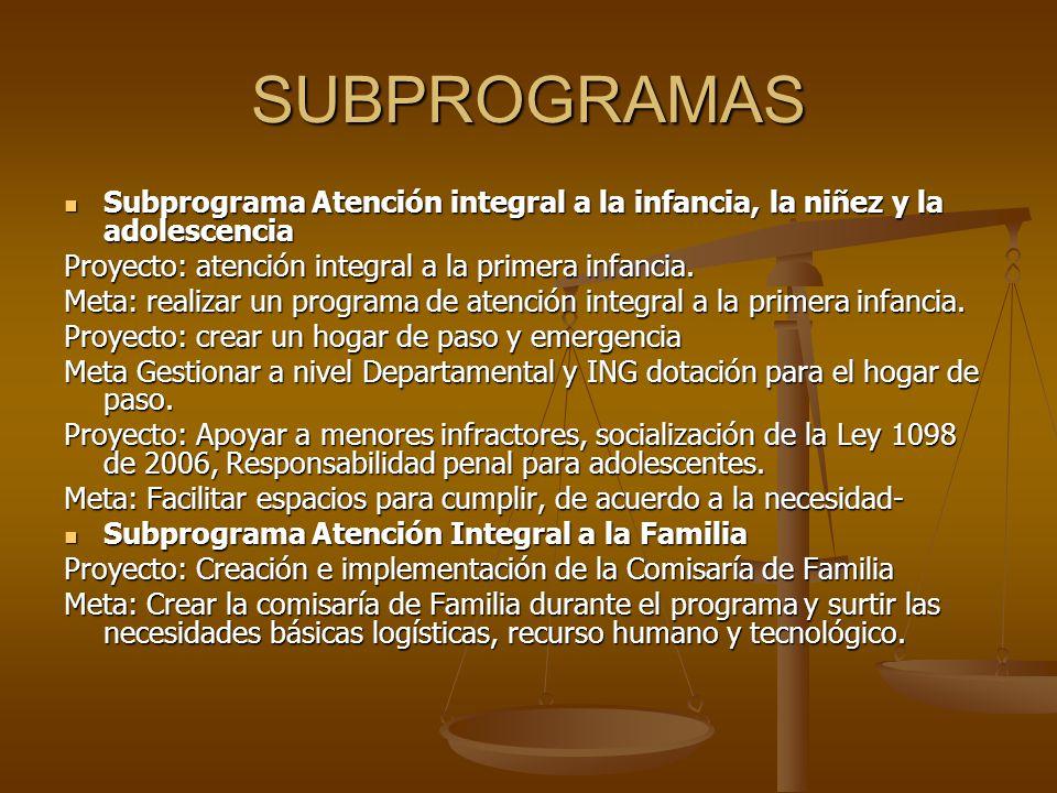 SUBPROGRAMAS Subprograma Atención integral a la infancia, la niñez y la adolescencia. Proyecto: atención integral a la primera infancia.