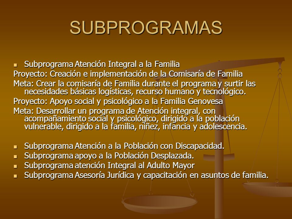 SUBPROGRAMAS Subprograma Atención Integral a la Familia