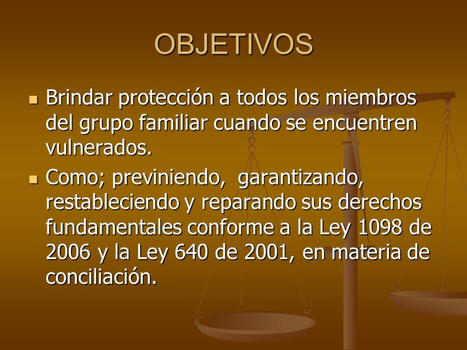 OBJETIVOS Brindar protección a todos los miembros del grupo familiar cuando se encuentren vulnerados.