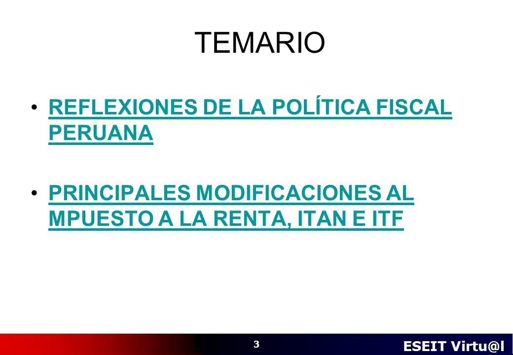 TEMARIO REFLEXIONES DE LA POLÍTICA FISCAL PERUANA