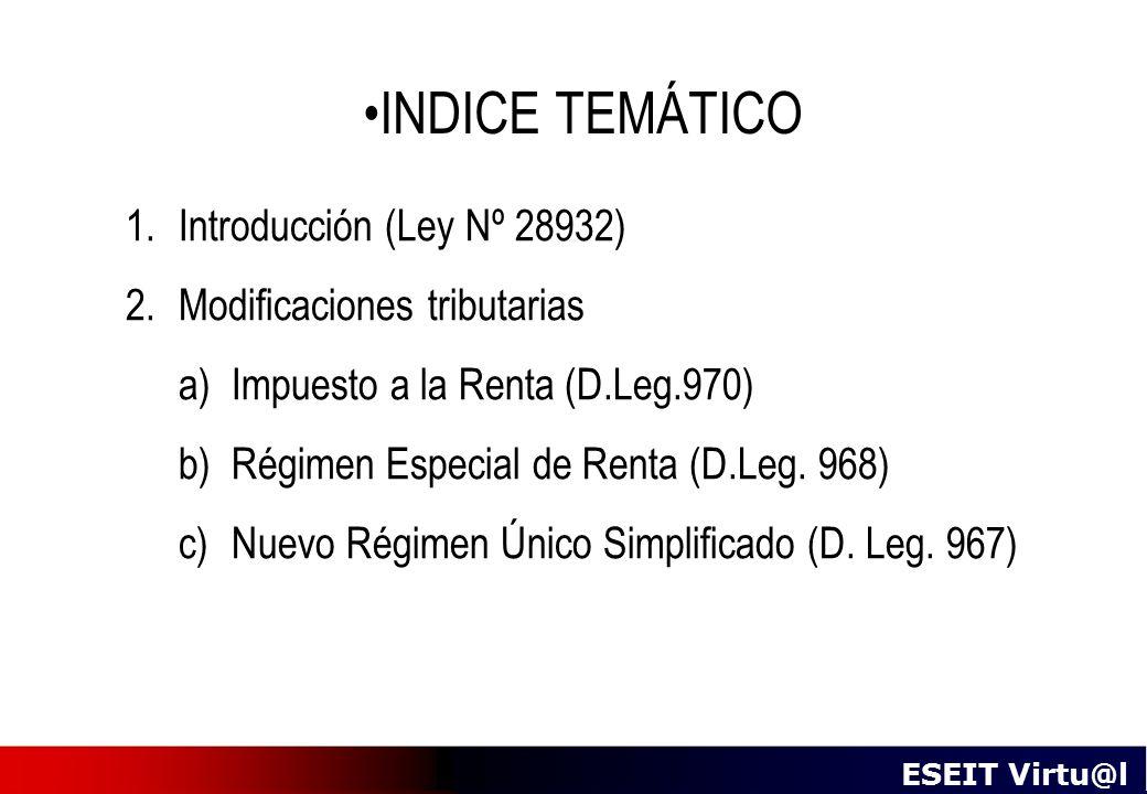 INDICE TEMÁTICO Introducción (Ley Nº 28932) Modificaciones tributarias