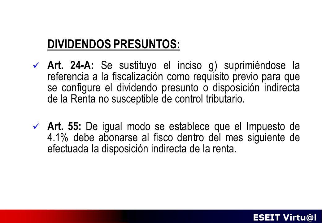 DIVIDENDOS PRESUNTOS: