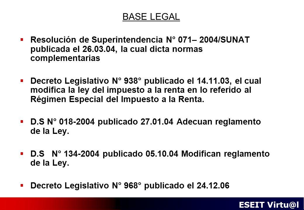 BASE LEGAL Resolución de Superintendencia N° 071– 2004/SUNAT publicada el 26.03.04, la cual dicta normas complementarias.