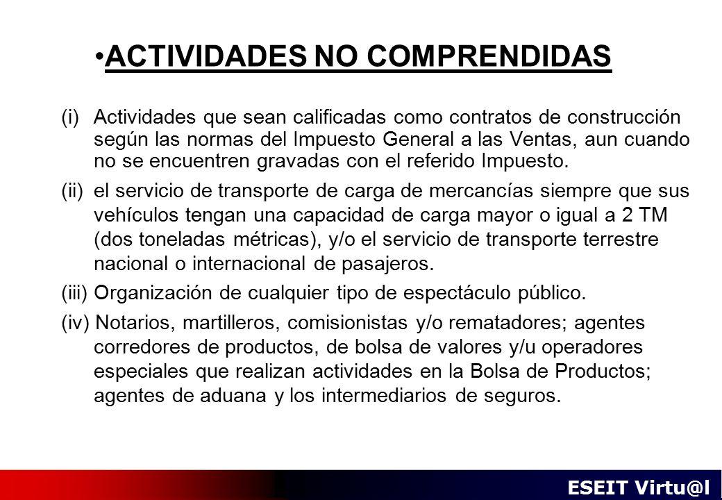 ACTIVIDADES NO COMPRENDIDAS