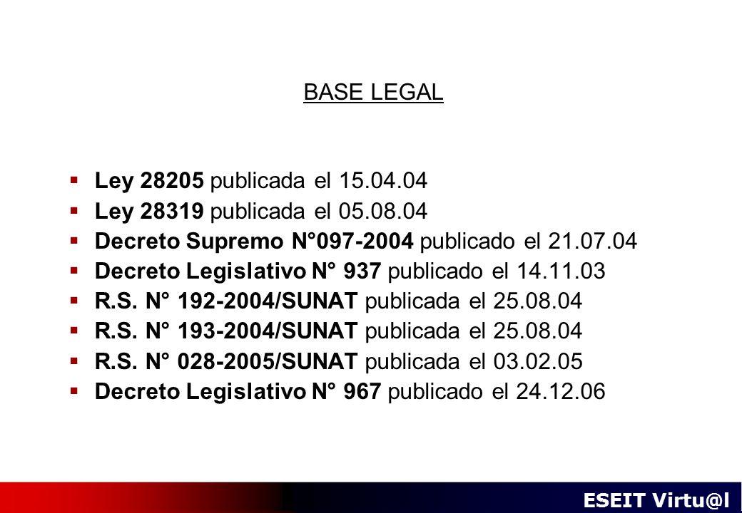 BASE LEGAL Ley 28205 publicada el 15.04.04. Ley 28319 publicada el 05.08.04. Decreto Supremo N°097-2004 publicado el 21.07.04.