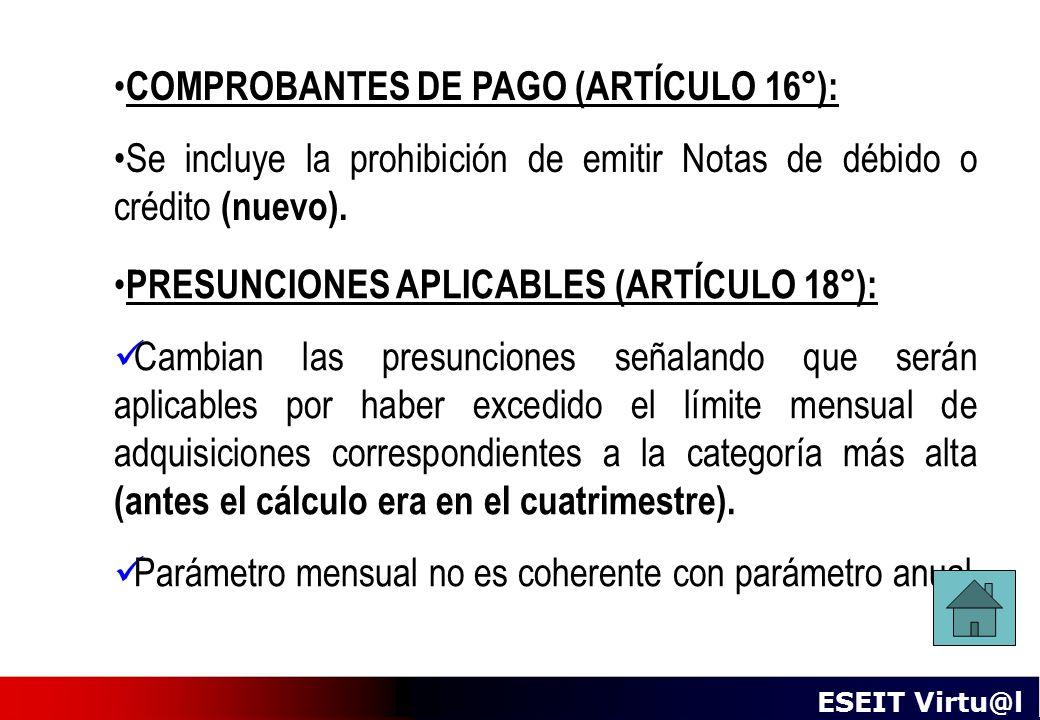 COMPROBANTES DE PAGO (ARTÍCULO 16°):