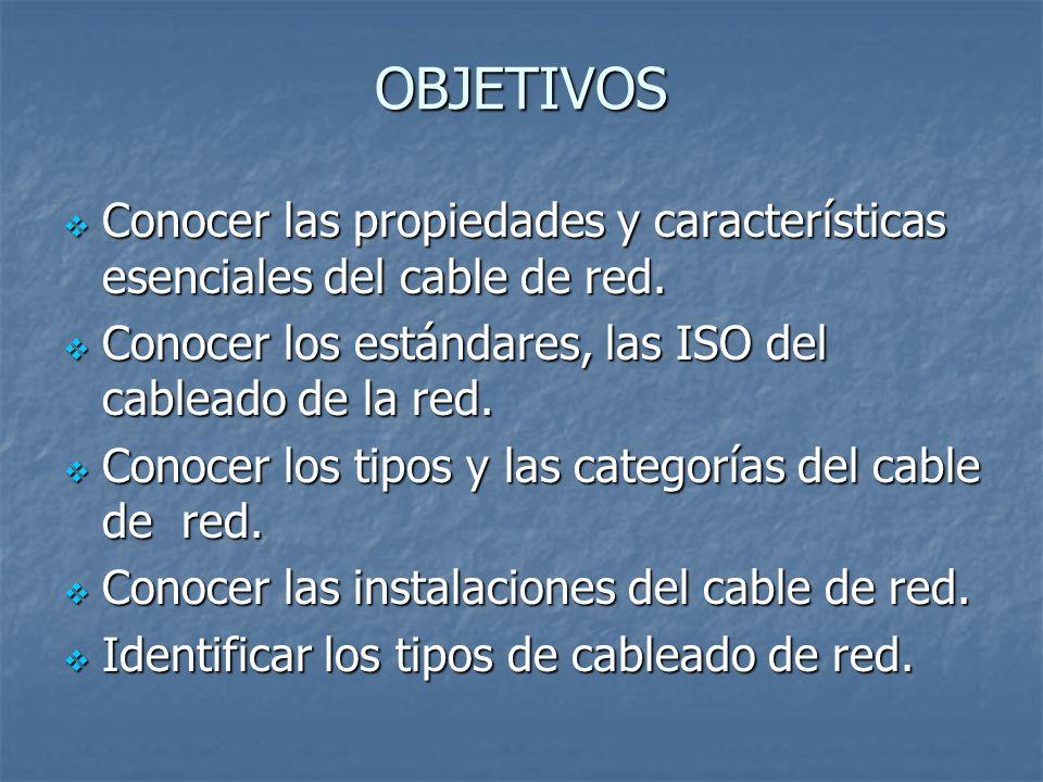OBJETIVOS Conocer las propiedades y características esenciales del cable de red. Conocer los estándares, las ISO del cableado de la red.