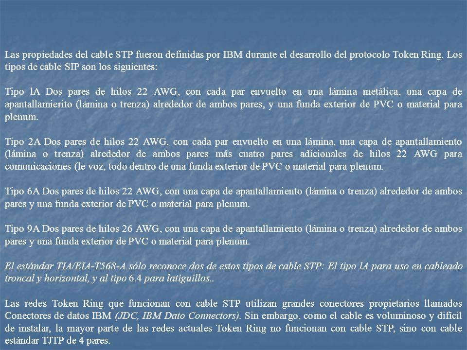 Las propiedades del cable STP fueron definidas por IBM durante el desarrollo del protocolo Token Ring. Los tipos de cable SIP son los siguientes: