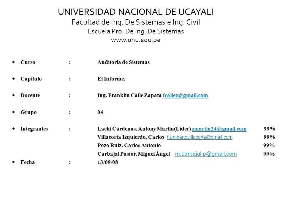 UNIVERSIDAD NACIONAL DE UCAYALI Facultad de Ing. De Sistemas e Ing