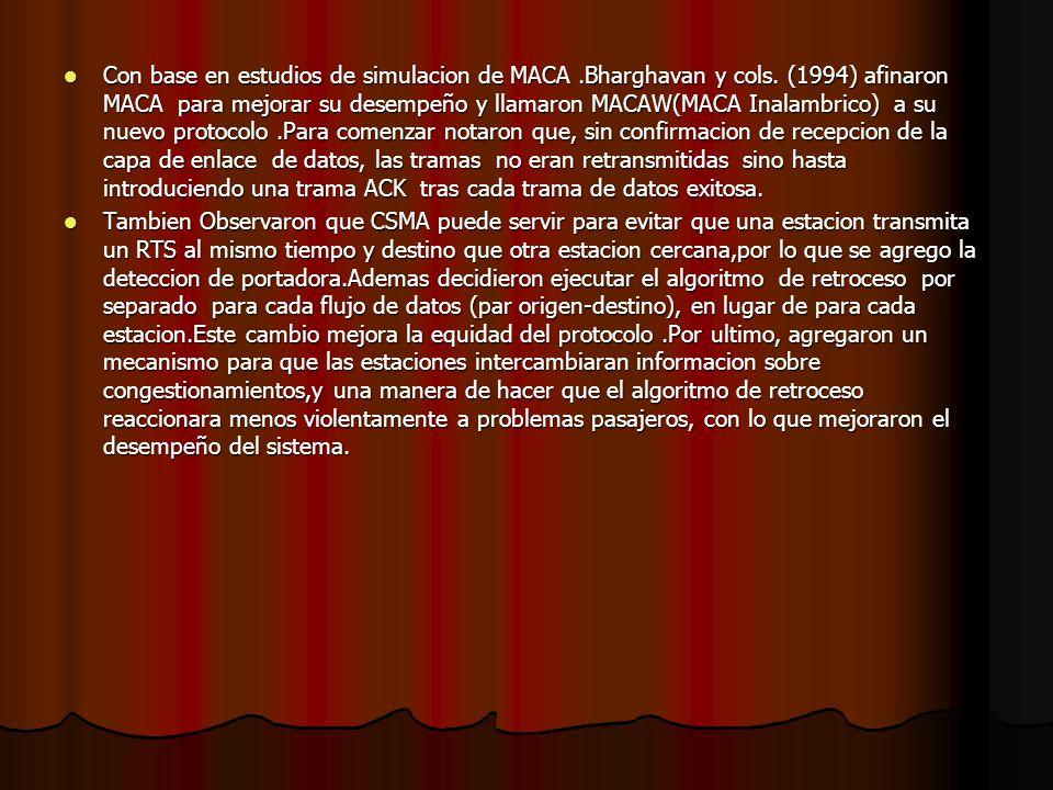 Con base en estudios de simulacion de MACA. Bharghavan y cols