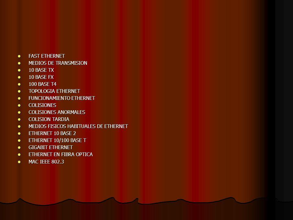 FAST ETHERNET MEDIOS DE TRANSMISION. 10 BASE TX. 10 BASE FX. 100 BASE T4. TOPOLOGIA ETHERNET. FUNCIONAMIENTO ETHERNET.