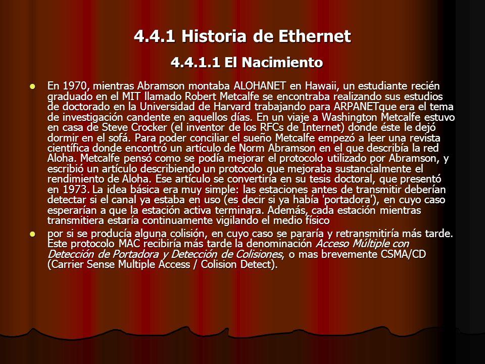 4.4.1 Historia de Ethernet 4.4.1.1 El Nacimiento