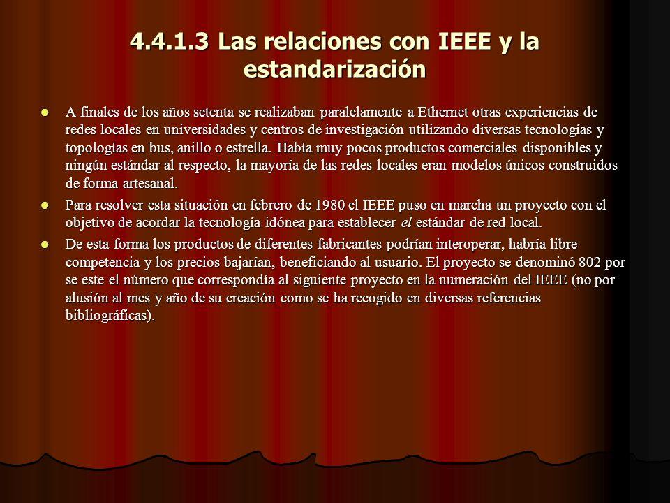 4.4.1.3 Las relaciones con IEEE y la estandarización