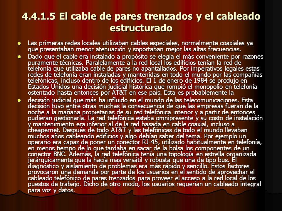 4.4.1.5 El cable de pares trenzados y el cableado estructurado