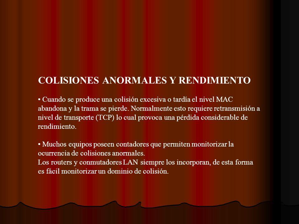 COLISIONES ANORMALES Y RENDIMIENTO