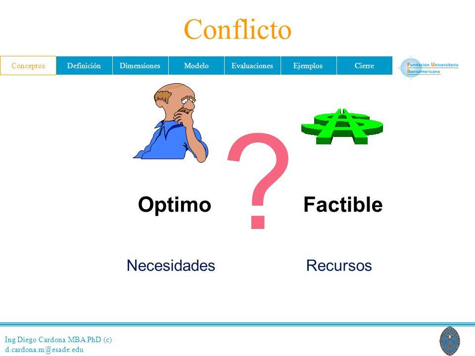 Conflicto Conceptos Optimo Factible Necesidades Recursos 11