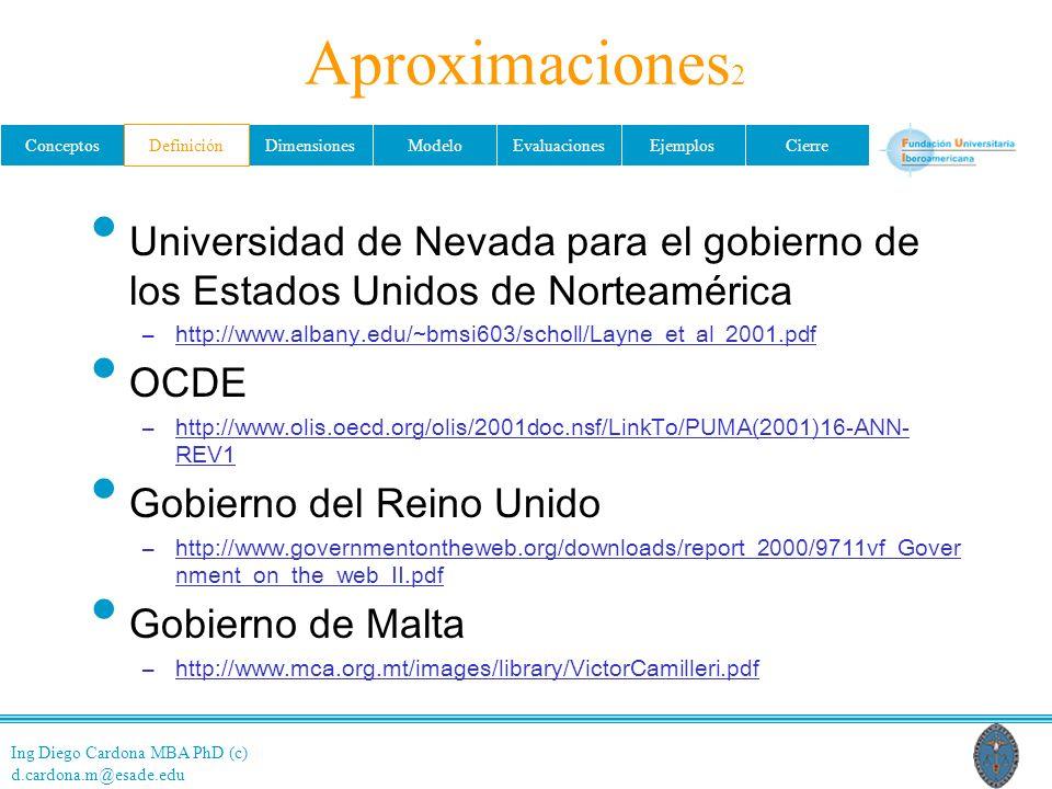 Aproximaciones2 Definición. Universidad de Nevada para el gobierno de los Estados Unidos de Norteamérica.