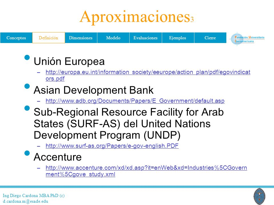 Aproximaciones3 Unión Europea Asian Development Bank