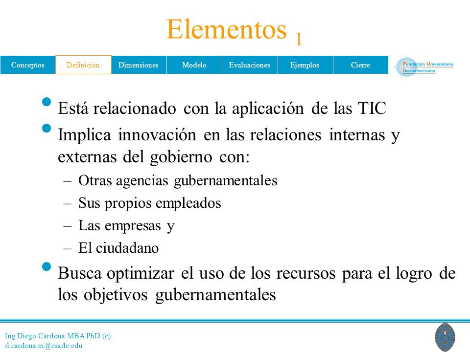 Elementos 1 Está relacionado con la aplicación de las TIC