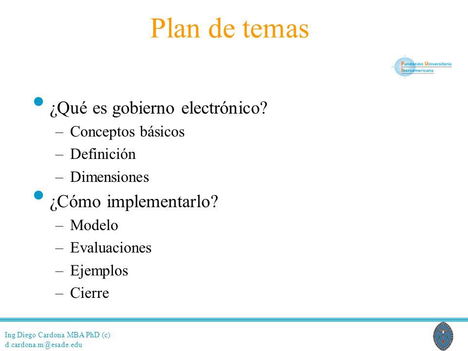 Plan de temas ¿Qué es gobierno electrónico ¿Cómo implementarlo