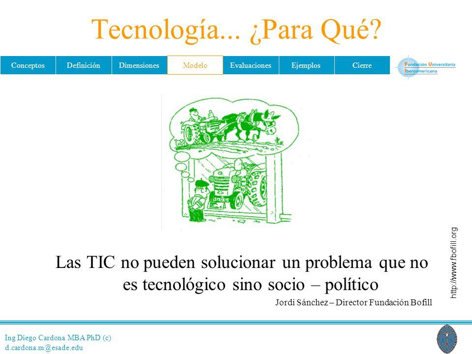 Tecnología... ¿Para Qué Modelo. Las TIC no pueden solucionar un problema que no es tecnológico sino socio – político.