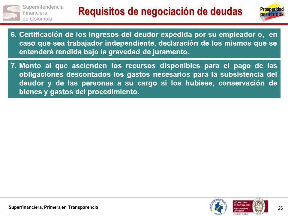 Requisitos de negociación de deudas