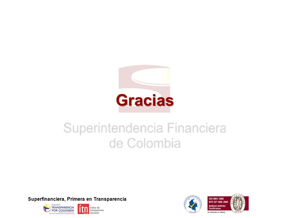 Gracias Superfinanciera, Primera en Transparencia