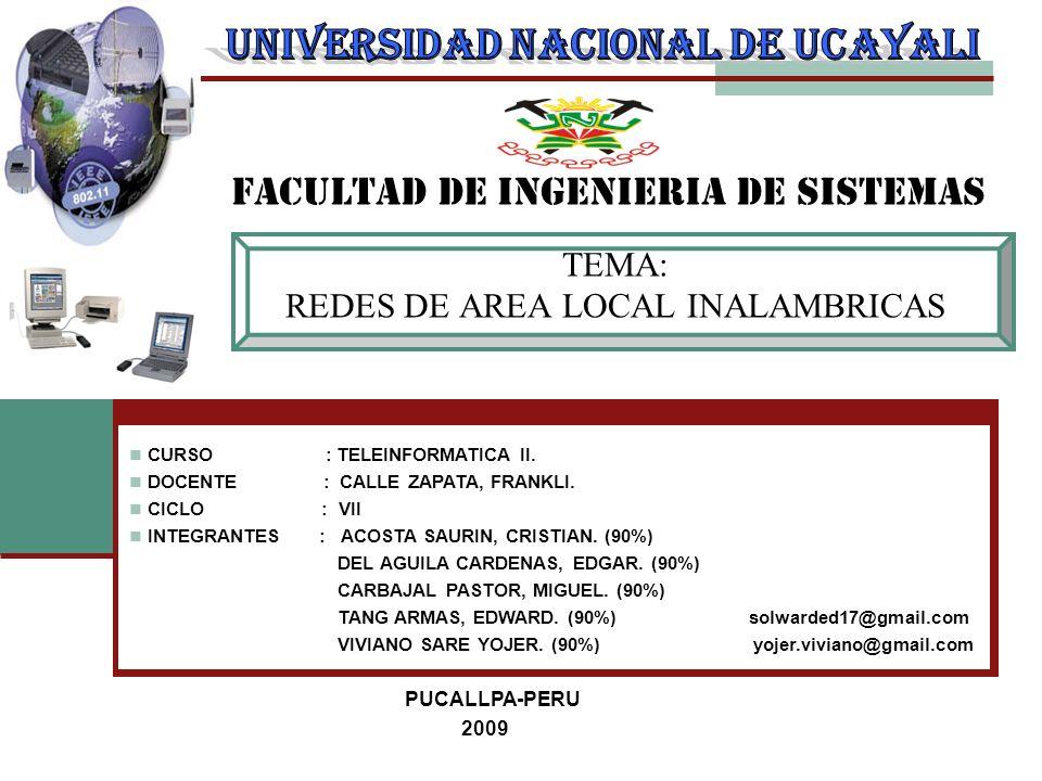 TEMA: REDES DE AREA LOCAL INALAMBRICAS