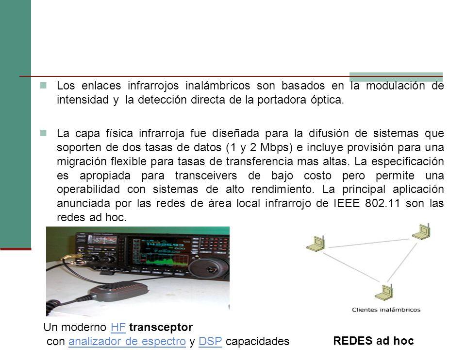 Los enlaces infrarrojos inalámbricos son basados en la modulación de intensidad y la detección directa de la portadora óptica.