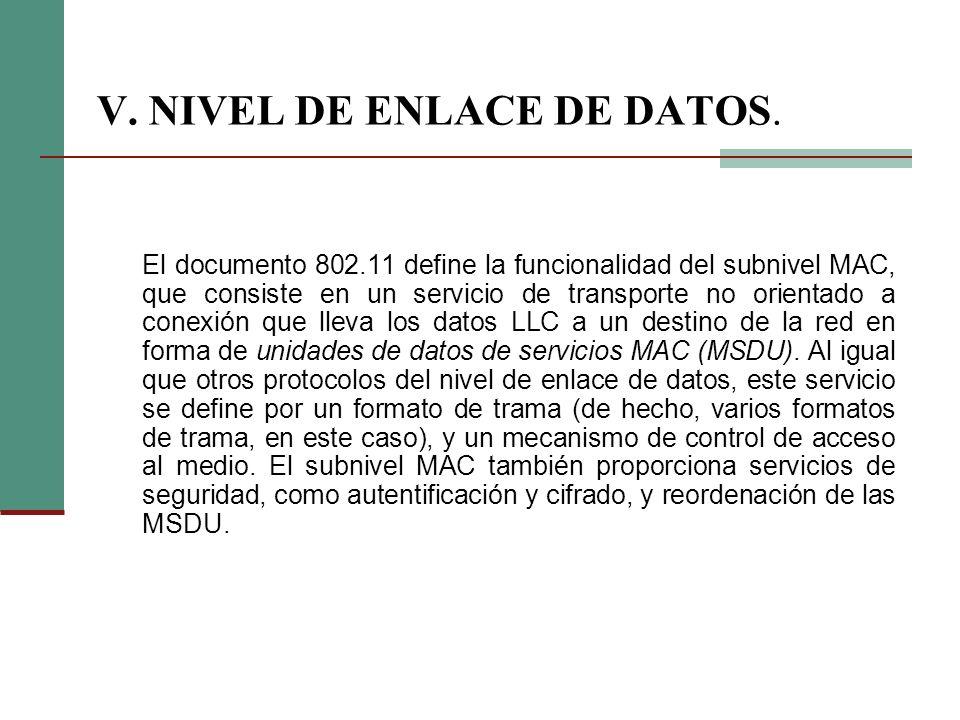 V. NIVEL DE ENLACE DE DATOS.