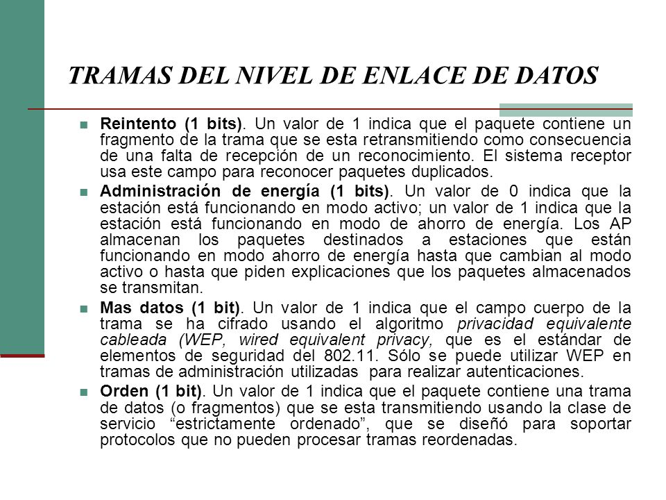 TRAMAS DEL NIVEL DE ENLACE DE DATOS