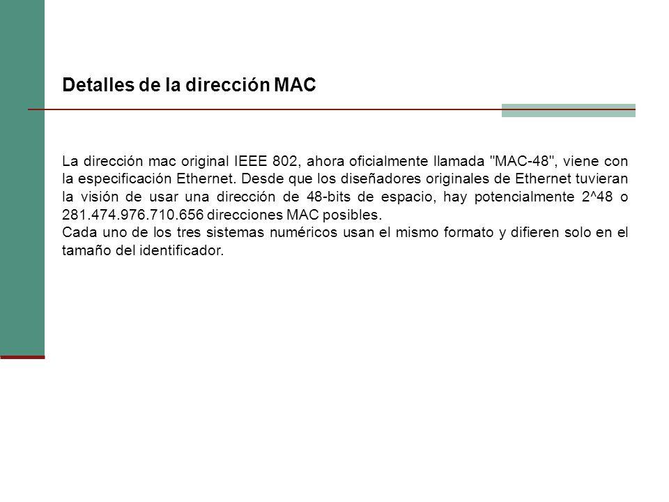 Detalles de la dirección MAC