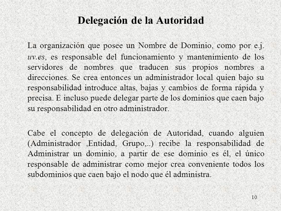 Delegación de la Autoridad