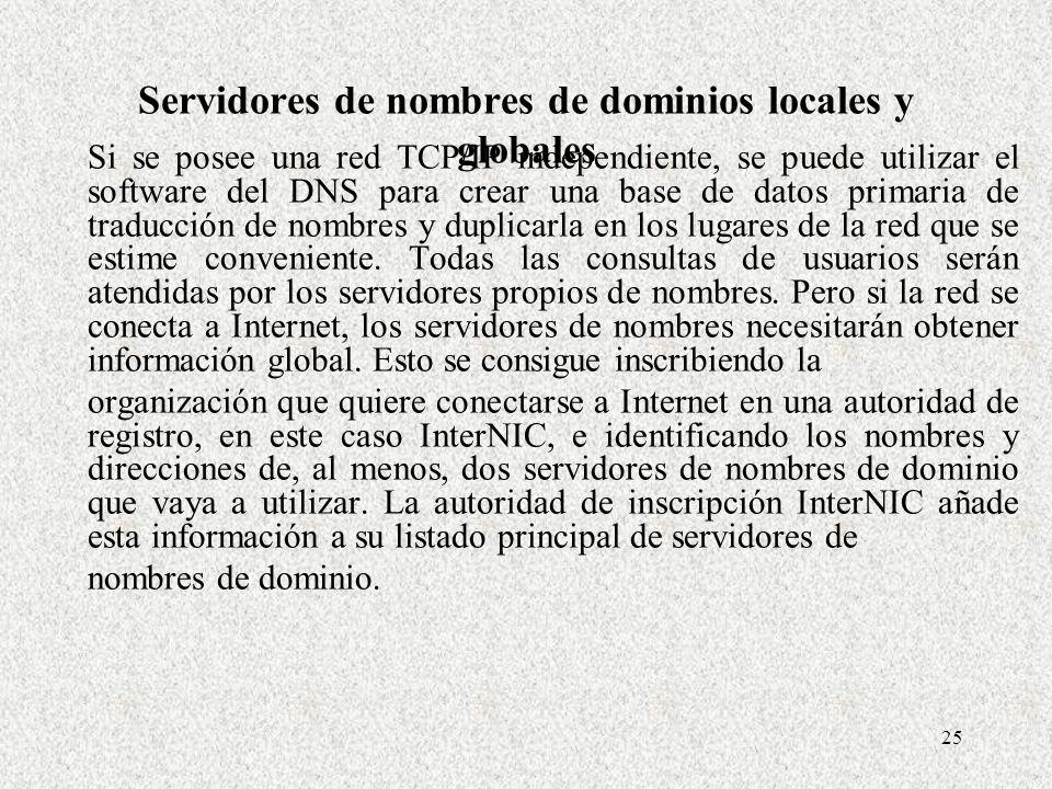 Servidores de nombres de dominios locales y globales