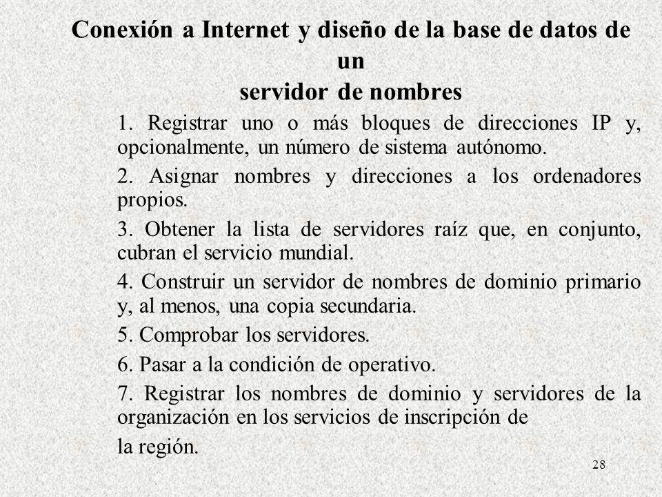 Conexión a Internet y diseño de la base de datos de un servidor de nombres