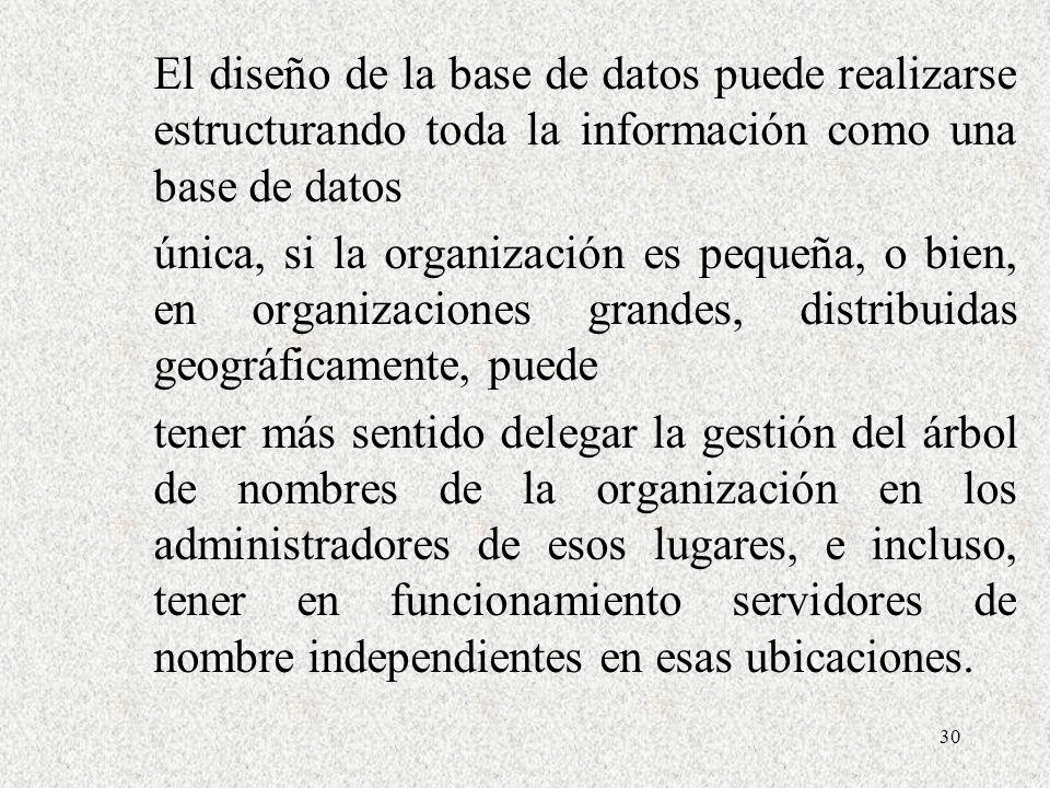El diseño de la base de datos puede realizarse estructurando toda la información como una base de datos