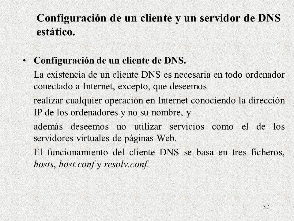 Configuración de un cliente y un servidor de DNS estático.