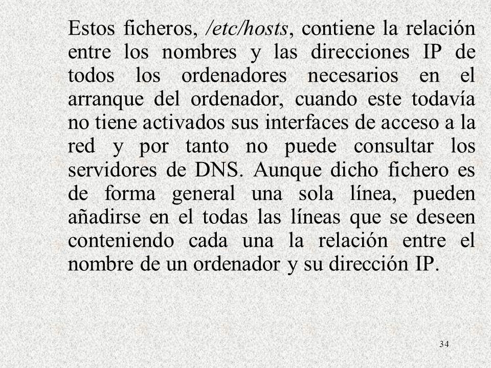 Estos ficheros, /etc/hosts, contiene la relación entre los nombres y las direcciones IP de todos los ordenadores necesarios en el arranque del ordenador, cuando este todavía no tiene activados sus interfaces de acceso a la red y por tanto no puede consultar los servidores de DNS.