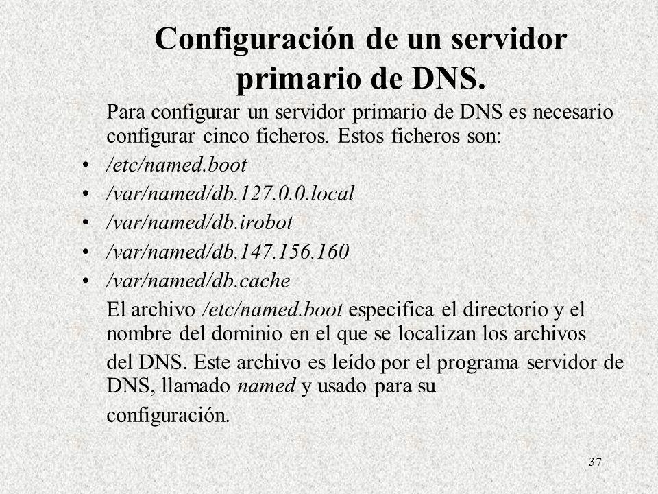 Configuración de un servidor primario de DNS.