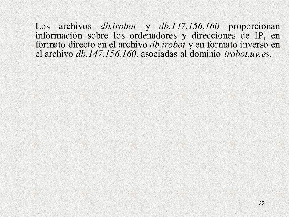 Los archivos db. irobot y db. 147. 156