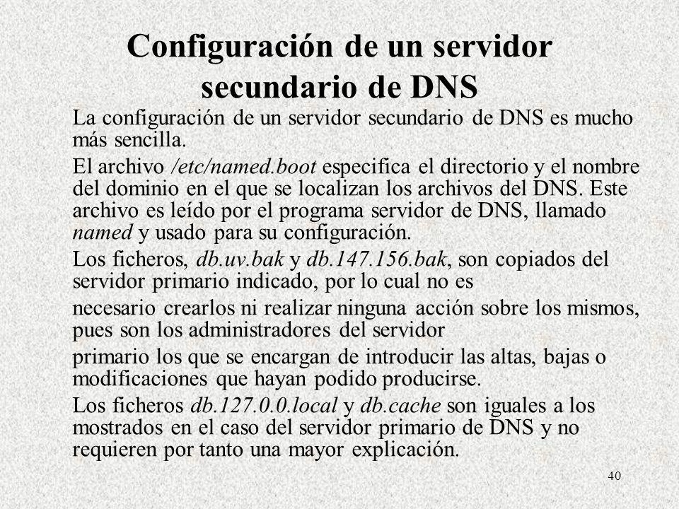 Configuración de un servidor secundario de DNS