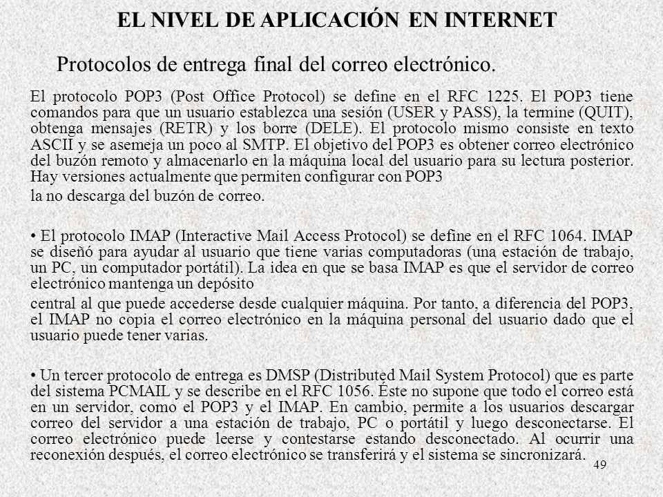 Protocolos de entrega final del correo electrónico.