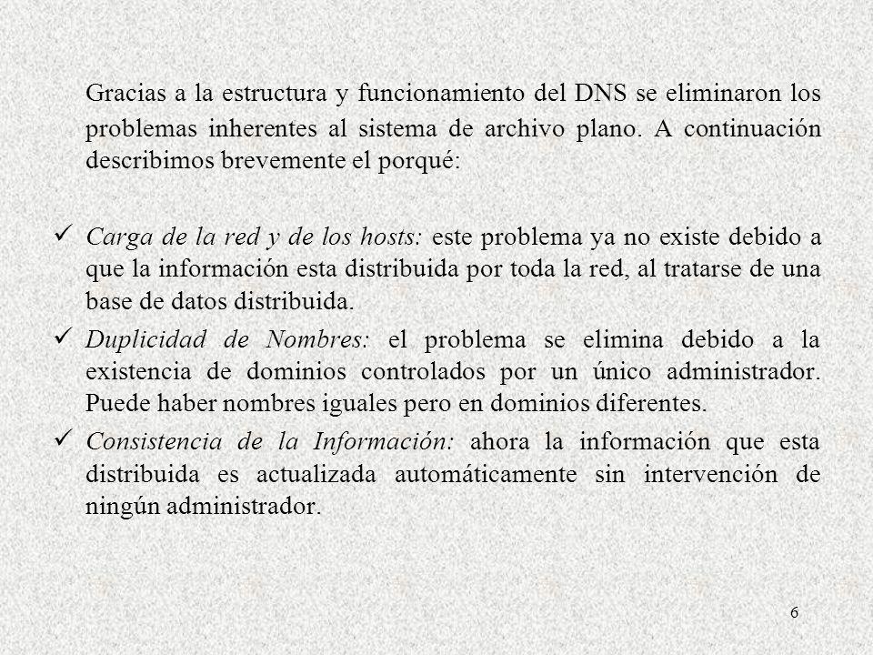 Gracias a la estructura y funcionamiento del DNS se eliminaron los problemas inherentes al sistema de archivo plano. A continuación describimos brevemente el porqué: