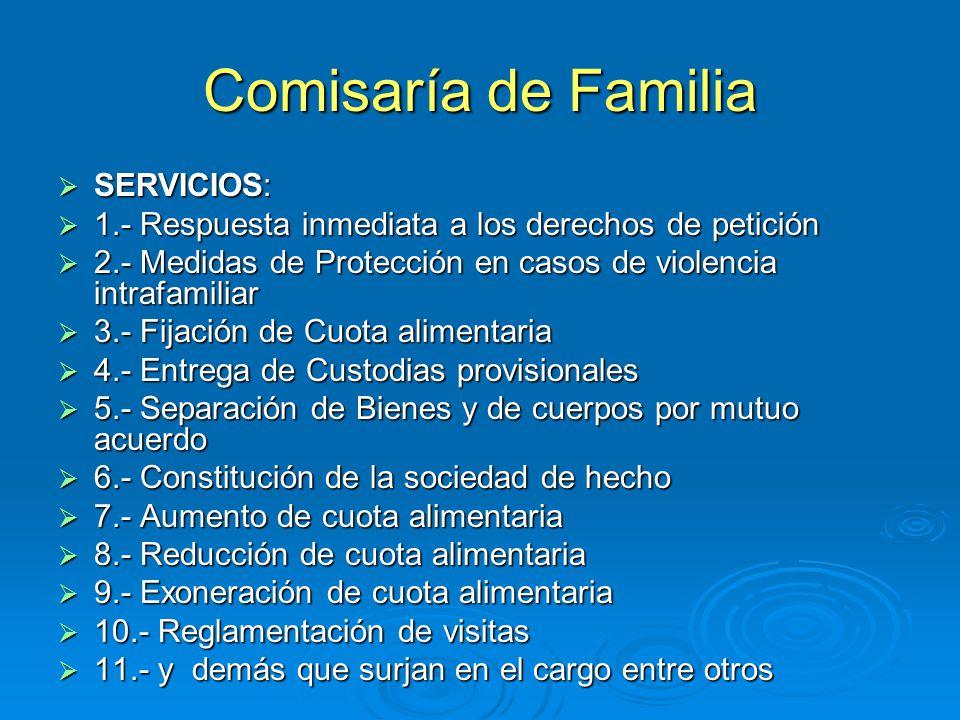 Comisaría de Familia SERVICIOS: